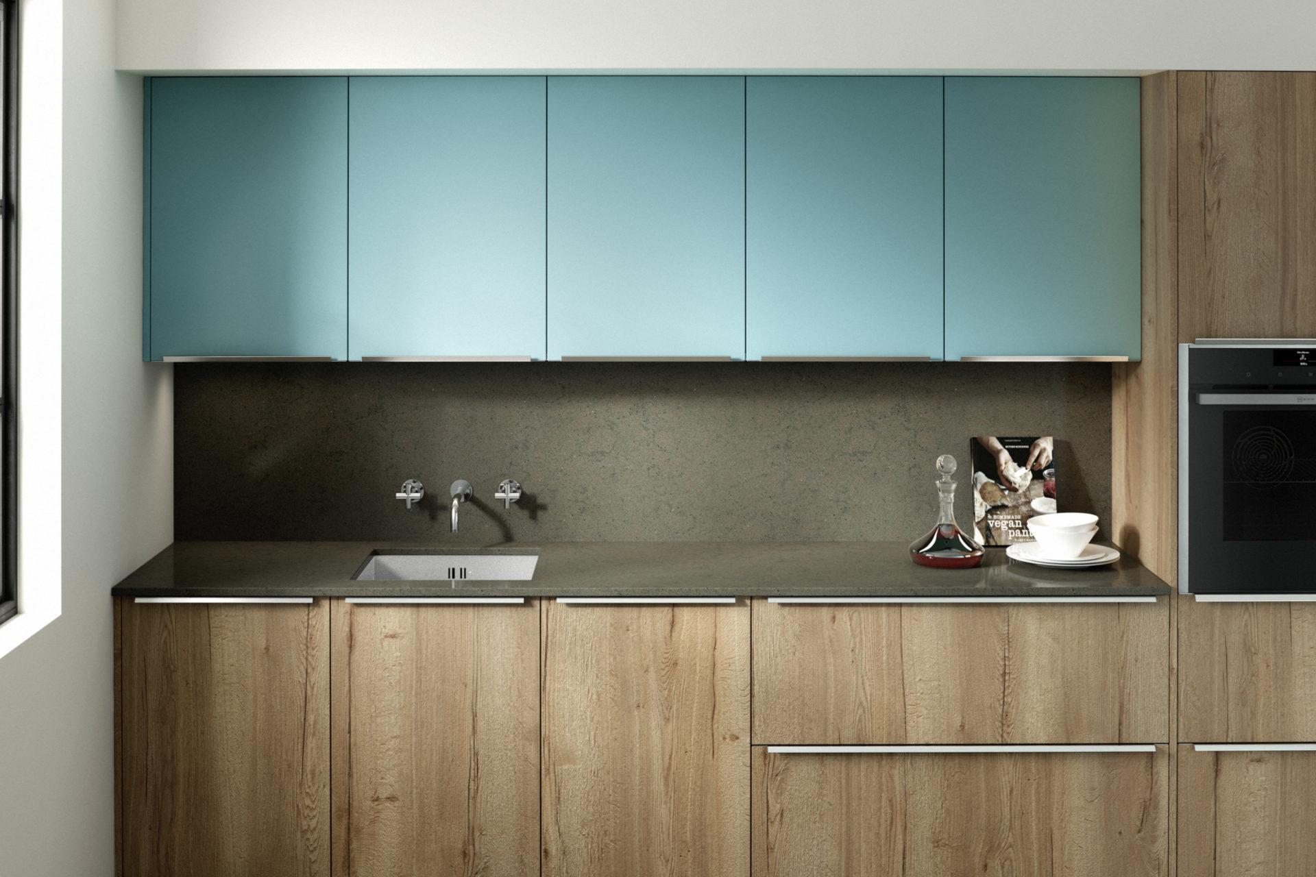 Reclaimed Oak Chalk Blue Kitchen