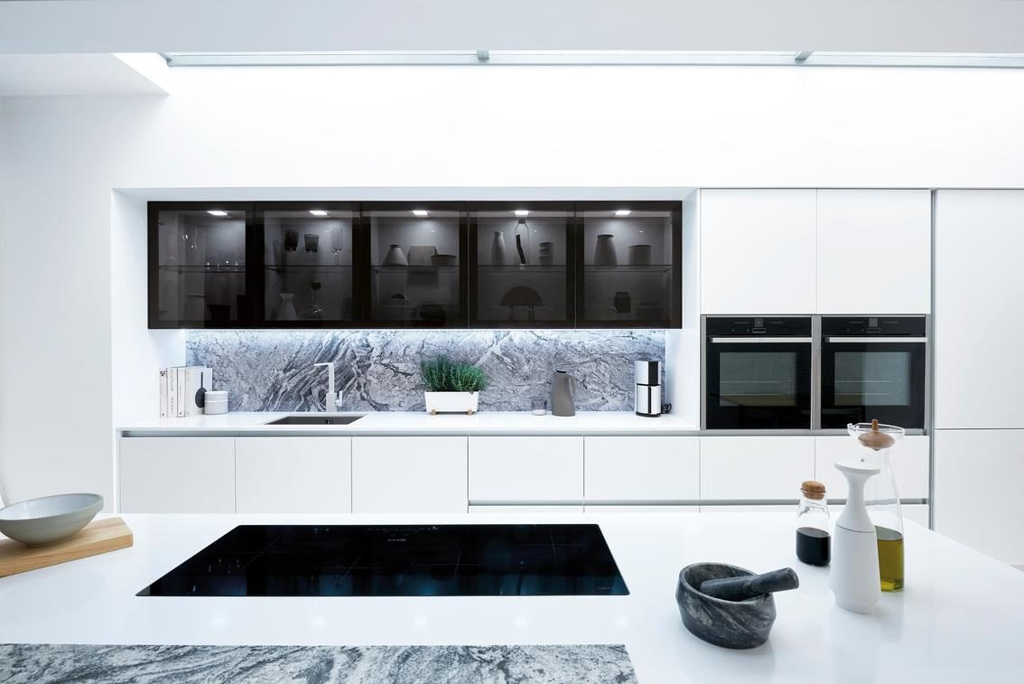 feature glazed black kitchen