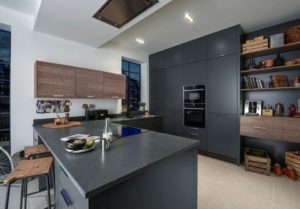 Porter in Matt Graphite with Alpina Smoked Oak Matt kitchen